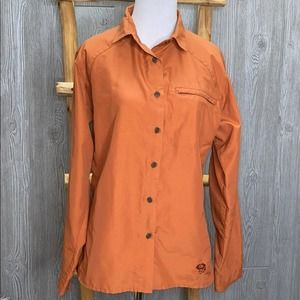 Mountain Hardwear Rust Orange Nylon Button Up 10